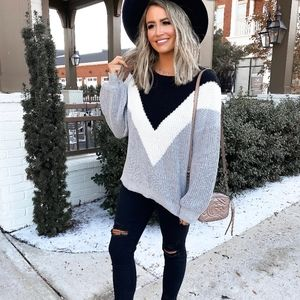 SALE! New Chevron Color Block Slouchy Sweater